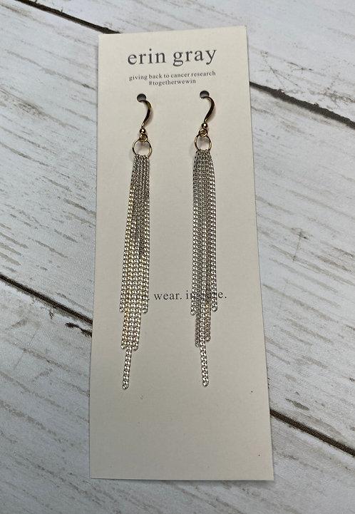 Long Silver Tassel Earrings