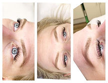 Hybrid lash extension fill with a brow w
