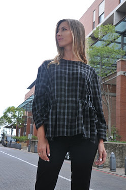 The Drawstring Blouse - Black and Grey Check