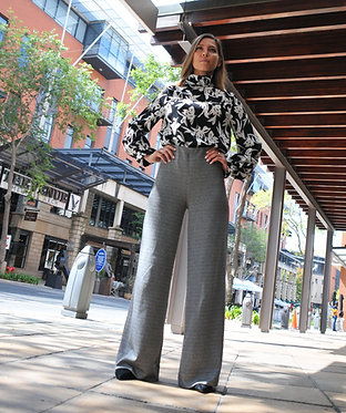 Flared Knit Pants - Black and White Check