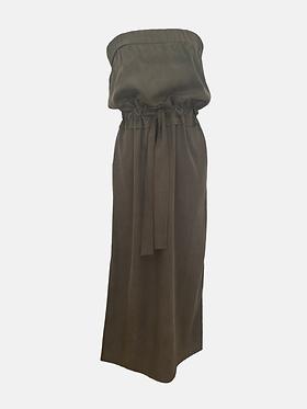 Frilly Boob-tube Dress - Hunter Green