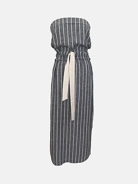 Frilly Boob-tube Dress - Blue and White Stripe