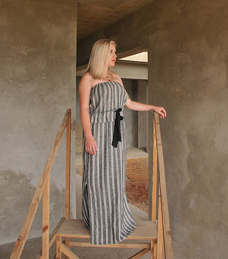 Frilly Boob-tube Dress - Charcoal and White Stripe