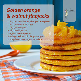 Golden Orange & Walnut Flapjacks