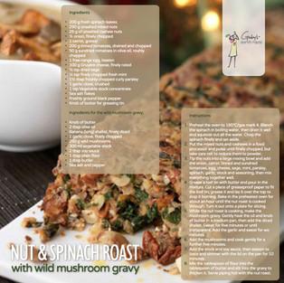 Nut & Spinach Roast with Mushroom Gravy
