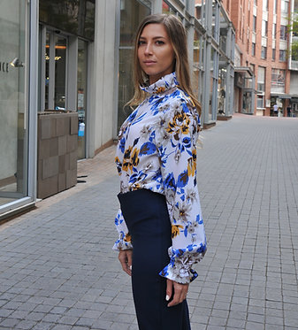 Frill Neck Blouse - Blue and Mustard Floral