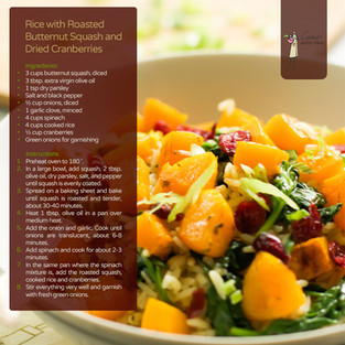 Rice with Roasted Butternut Squash & Dried Cranberries