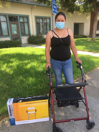 consumer with walking aid provided by SCRS