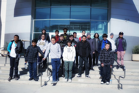 group of stem students standing in front of the technology building at ELAC