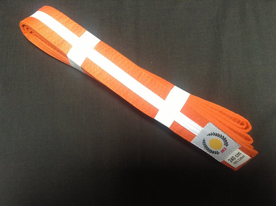 Belt: Orange/White Stripe