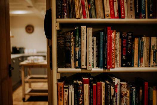 Collection of books on the bookshelf