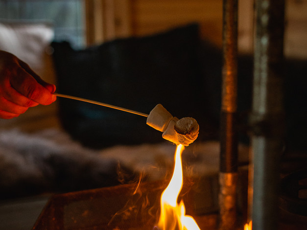 toasting marshmallows in the Arctic Cabin