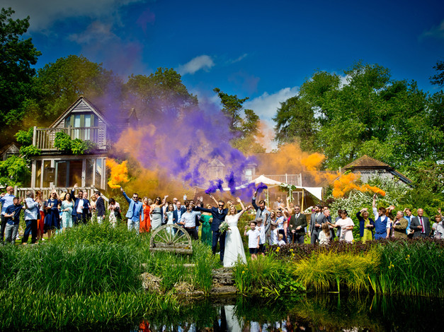 wedding with colour flares