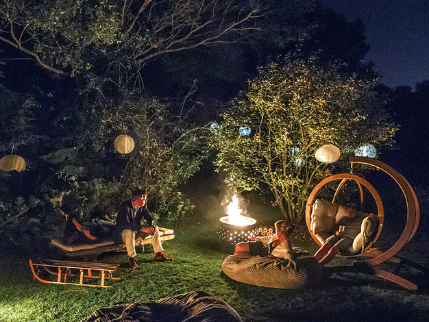 night time fire pit