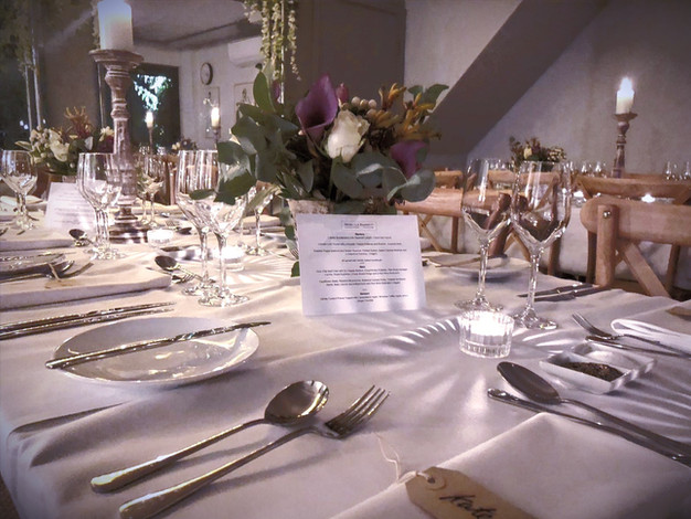 dining in the barn for up to 45 guests