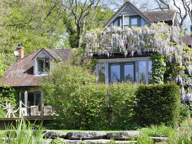 front of house covered in wisteria