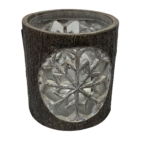 Large Candle Holder with Snowflake Design