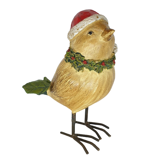 Christmas Bird With Santa Hat