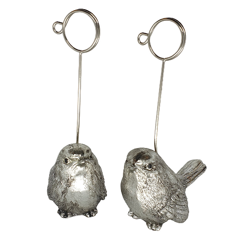 Pair of Silver Bird Place card Holders