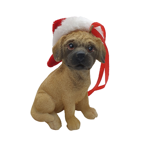 Christmas Dog Tree Ornament with Christmas Hat