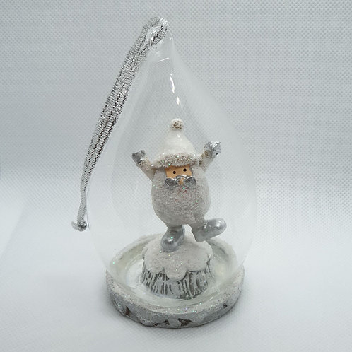 Santa on a Tree Stump Glass Tree Ornament