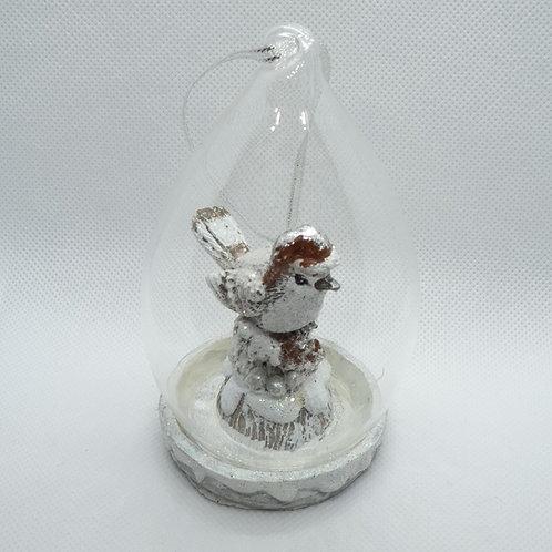 Robin on a Tree Stump Glass Tree Ornament