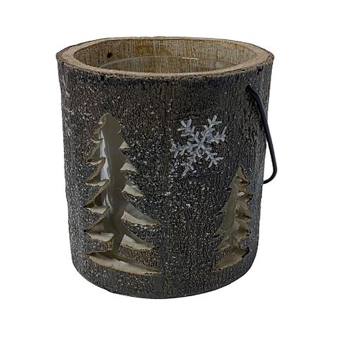Medium Candle Holder with Christmas Tree Design