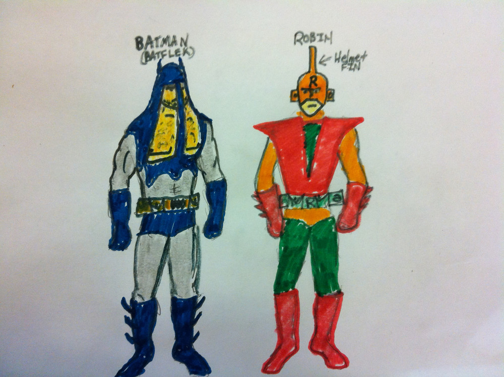 My crude drawing of the costumes I saw in my dream...and yes that is Ben Afflek's inevitable chest hair.