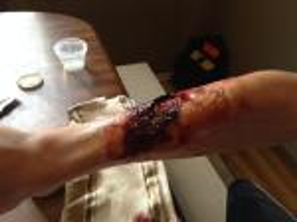 Conner's disgusting makeup job.  Tom Savini encouraged him and told him to check out his college when he graduates from high school