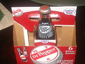 English: Throwback Dr Pepper bottle and packag...