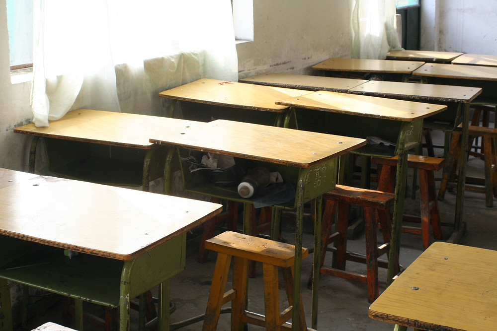 English: Classroom in a school for migrant stu...