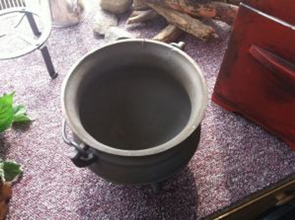 """A metal cauldron used in """"Hell on Wheels"""" on AMC.  Found in a recreation store called """"Jas. Townsend and Sons"""" in Pierceton, Indiana."""