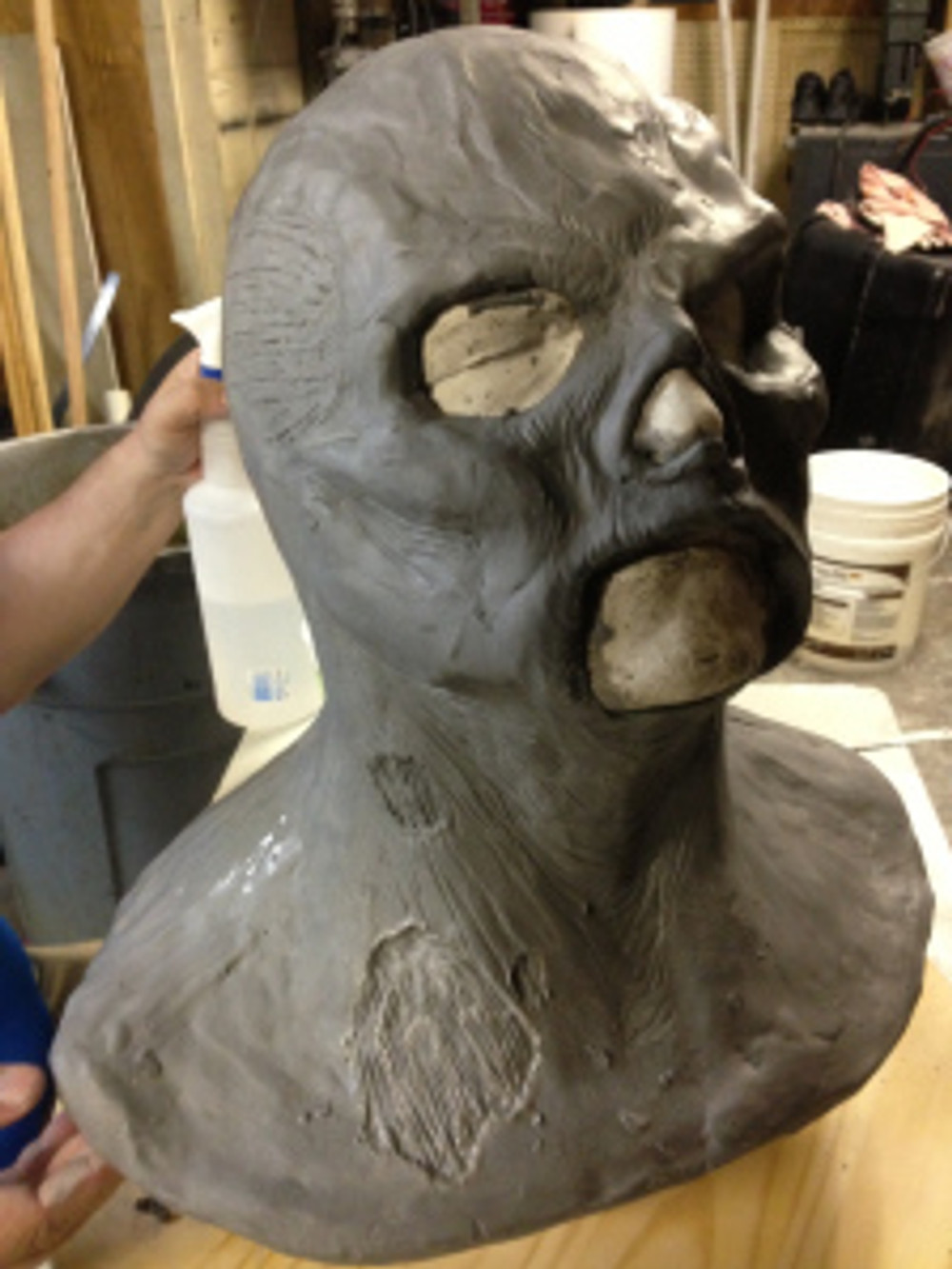 Austin and his crew sculpted a zombie mask over my plaster head.  They will then cast a latex mask from this sculpt.