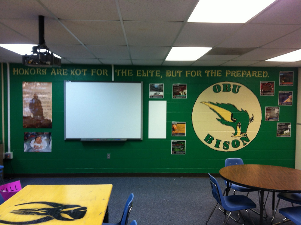 My classroom wall after my awesome wife painted it.  The students will feel more at home.