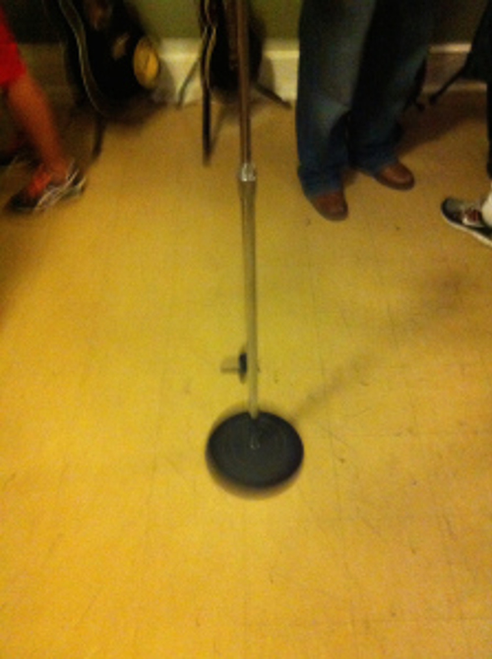 This black mark on the floor of the recording studio at Sun is the very spot where Elvis stood to record his first hit.