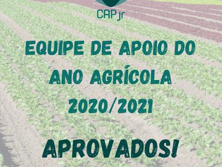 Lista de aprovados para a Equipe de Apoio do Ano Agrícola 2020/2021!