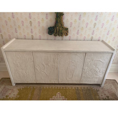 Vintage French Gesso Commode with Textured Doors
