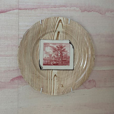French plates with faux bois and puce trompe l'oeil