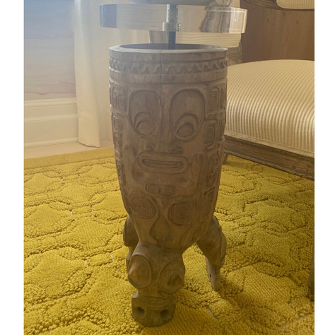 Table Made from 19-20th C. Marquesa Islands Carved and Hollowed Wood Vessel
