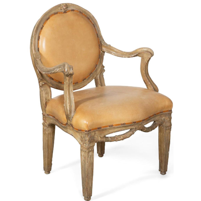 Gilt in Grey painted Armchair