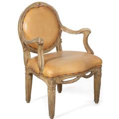 Italian Parcel Gilt in Grey painted Armchair, 18th Century