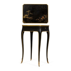 Louis XV Black Lacquer Table with Chinoiserie Decorations