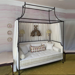 Custom French Iron Day Bed with custom Mattress, Cushions and Bolsters