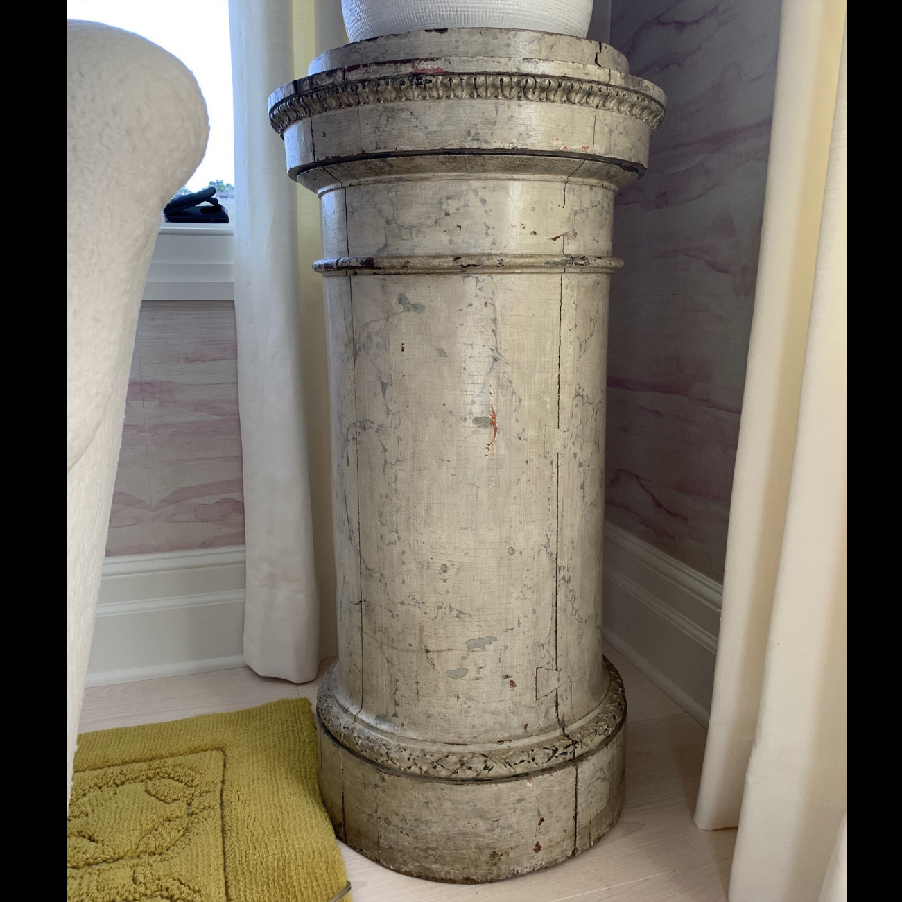 19th Century Swedish Neoclassical White Faux Marble Painted Pedestal