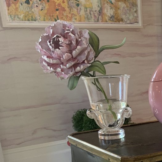 Tommy Mitchell Peony in Steuben Glass Urn with Handles