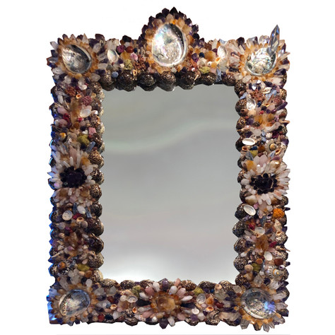 French Coquillage Mirror with semi-precious stones