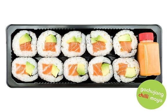 Salmon & Avocado Rolls with Gochujang Mayo Dip