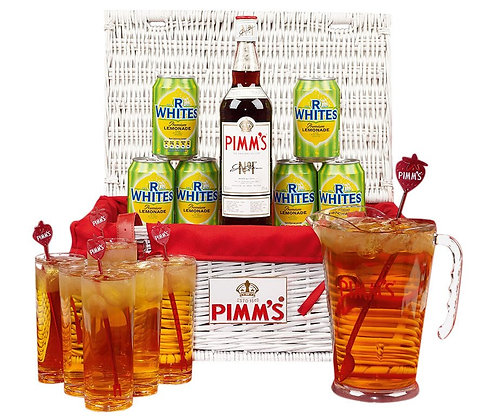 Pimms White Hamper Wicker Picnic Basket