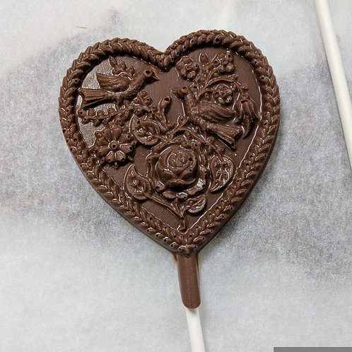 Small Heart with Doves Chocolate Lollipop