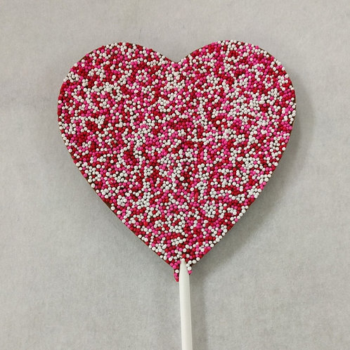 Chocolate Heart pop with Non-pariels